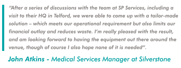 After a series of discussions with the team at SP Services, including a visit to their HQ in Telford, we were able to come up with a tailor-made solution – which meets our operational requirement but also limits our financial outlay and reduces waste.  I am really pleased with the result, and am looking forward to having the equipment out there around the venue, though of course I also hope none of it is needed.